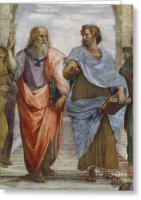 Fame Greeting Cards - Aristotle and Plato detail of School of Athens Greeting Card by Raffaello Sanzio of Urbino