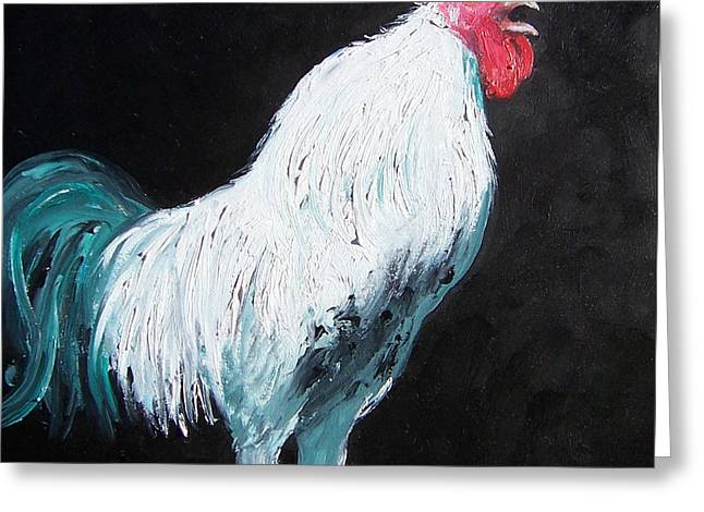 Colorful Rooster Greeting Cards - Aristotle the Rooster Greeting Card by Jan Matson