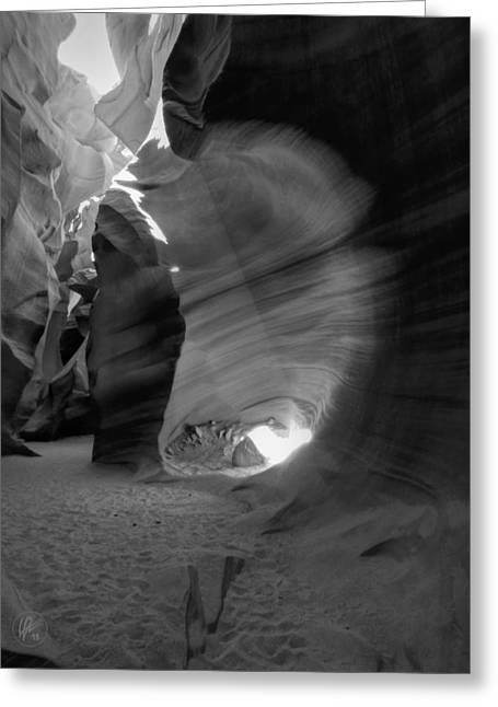 Sun Beams Sun Rays Greeting Cards - Arizona - Antelope Canyon 026 BW Greeting Card by Lance Vaughn