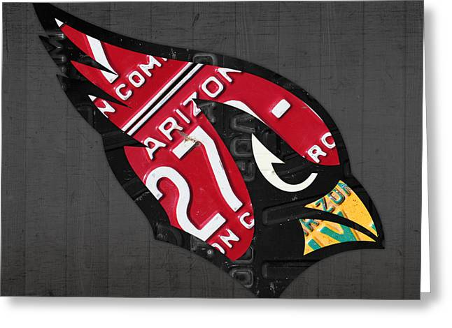 Arizona Cardinals Greeting Cards - Arizona Cardinals Football Team Retro Logo License Plate Art Greeting Card by Design Turnpike