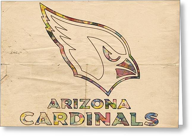 Arizona Posters Greeting Cards - Arizona Cardinals Logo Art Greeting Card by Florian Rodarte