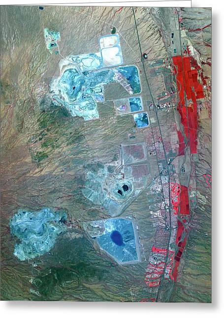 Arizona Copper Mine Greeting Card by Nasa/gsfc/meti/ersdac/jaros, And U.s./japan Aster Science Team