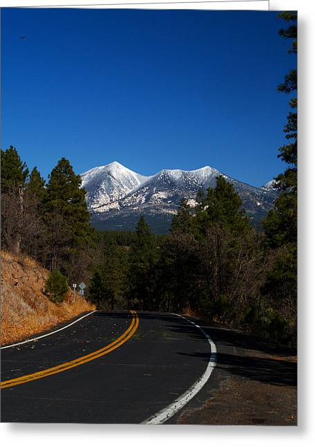 San Francisco Peaks Greeting Cards - Arizona Country Road  Greeting Card by Joshua House