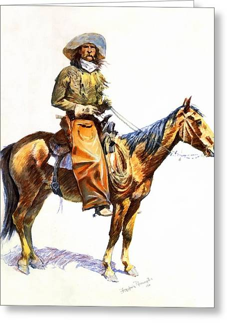 Arizona Cowboy Greeting Cards - Arizona Cowboy Greeting Card by Frederic Remington