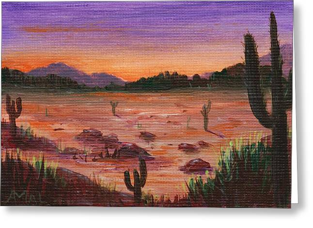 Sunset Scenes. Drawings Greeting Cards - Arizona Desert Greeting Card by Anastasiya Malakhova