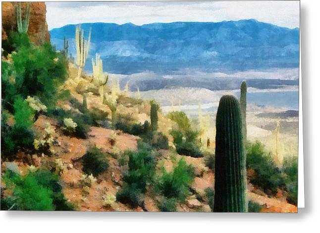 Desert Lake Greeting Cards - Arizona Desert Heights Greeting Card by Michelle Calkins