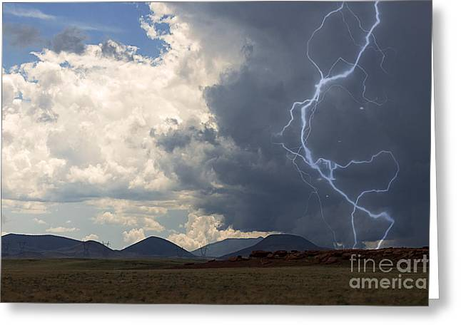 Recently Sold -  - Summer Storm Greeting Cards - Arizona Desert Lightning  Greeting Card by Janice Rae Pariza