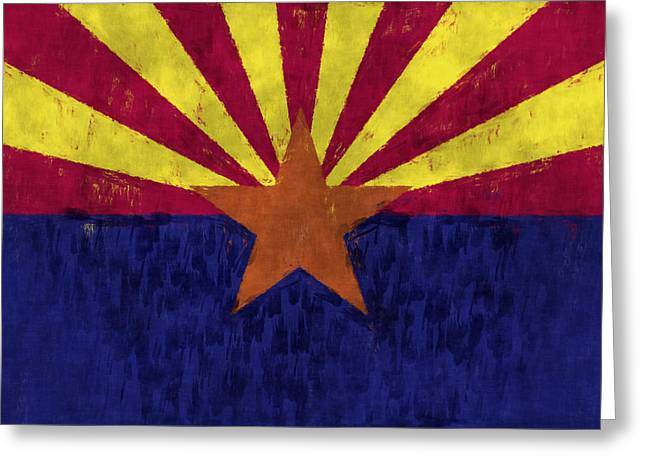 Flag Of Usa Greeting Cards - Arizona Flag Greeting Card by World Art Prints And Designs