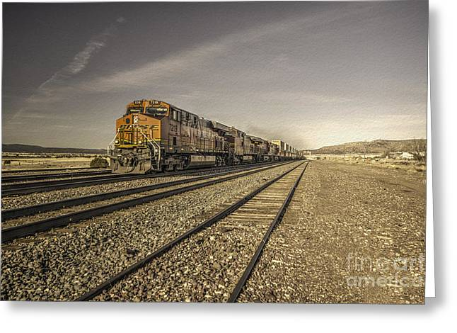 Bnsf Greeting Cards - Arizona Freight  Greeting Card by Rob Hawkins