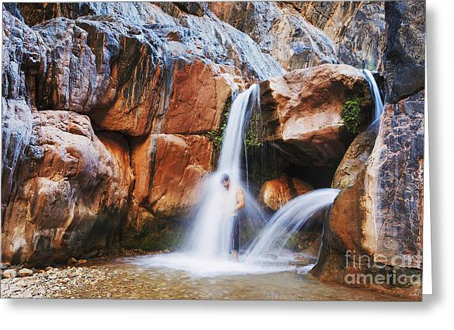 Beautiful Creek Greeting Cards - Arizona, Grand Canyon National Park, Clear Creek Falls, Man Under Waterfall. Greeting Card by MakenaStockMedia