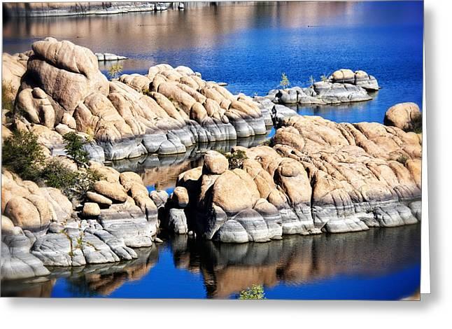 Granite Dells Reflections Greeting Cards - Arizona Granite 1 Greeting Card by Lee Craig