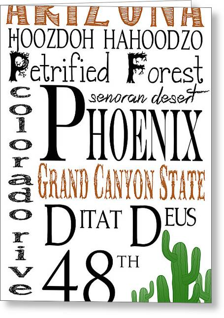 Various Digital Greeting Cards - Arizona Greeting Card by Heather Applegate