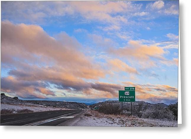 Sunset After A Storm Greeting Cards - Arizona Highway Sunset Greeting Card by Anthony Citro