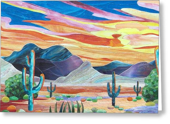 Universities Glass Art Greeting Cards - Arizona landscape Greeting Card by Suzanne Tremblay