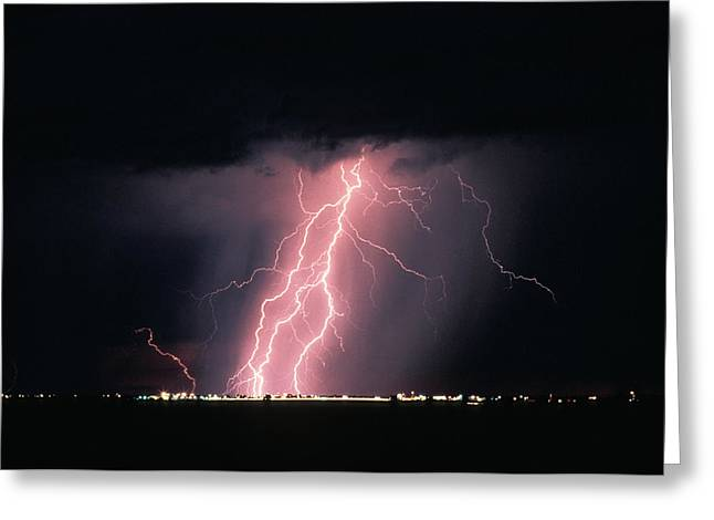 Ominous Greeting Cards - Arizona  Lightning Over City Lights Greeting Card by Anonymous