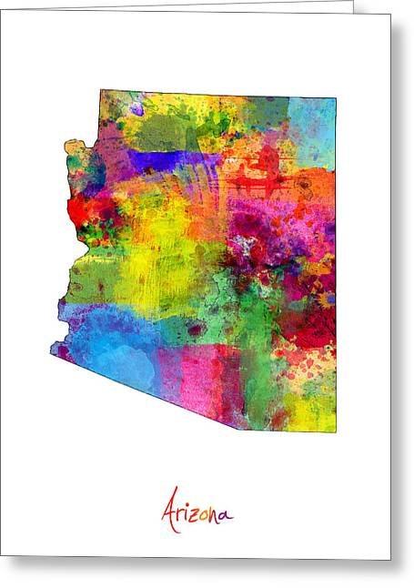 Grand Canyon State Greeting Cards - Arizona Map Greeting Card by Michael Tompsett