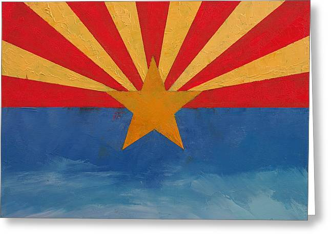 July 4th Paintings Greeting Cards - Arizona Greeting Card by Michael Creese