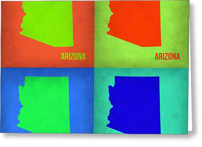 Arizona Posters Greeting Cards - Arizona Pop Art Map 1 Greeting Card by Naxart Studio