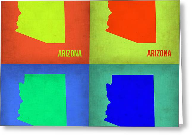 Arizona Posters Greeting Cards - Arizona Pop Art Map 3 Greeting Card by Naxart Studio