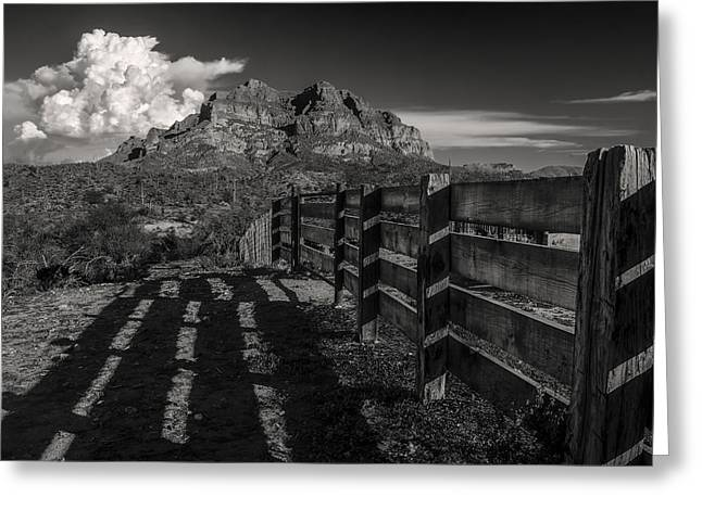Arizona Ranch Fence Greeting Card by Dave Dilli