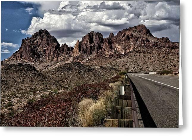Contemporary Art Pyrography Greeting Cards - Arizona Road Greeting Card by Joyce Isas