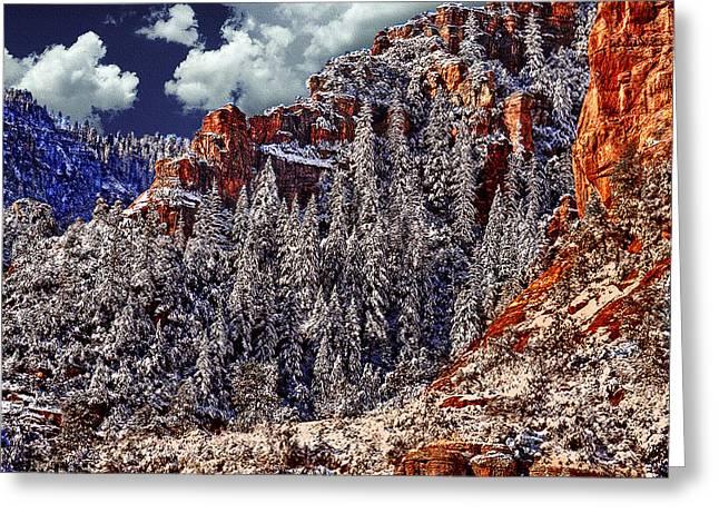 Arizona Secret Mountain Wilderness In Winter Greeting Card by Bob and Nadine Johnston