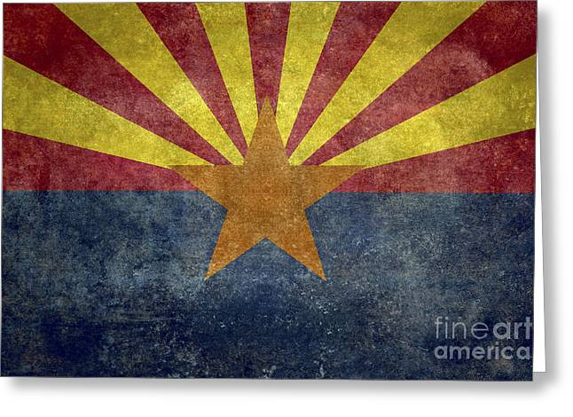Flag Of Usa Greeting Cards - Arizona State flag Greeting Card by Bruce Stanfield