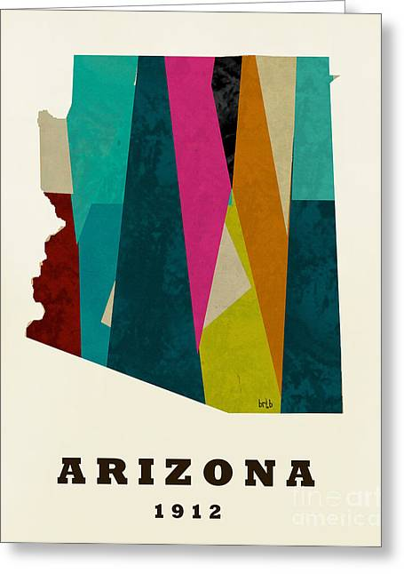 World Map Print Paintings Greeting Cards - Arizona State Map Modern Greeting Card by Bri Buckley
