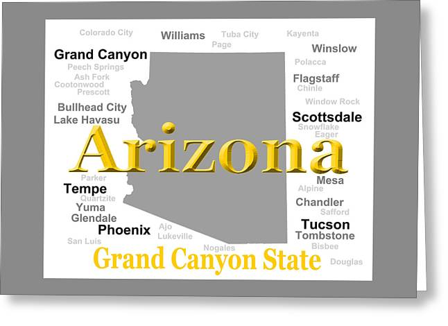 Grand Canyon State Greeting Cards - Arizona State Pride Map Silhouette  Greeting Card by Keith Webber Jr