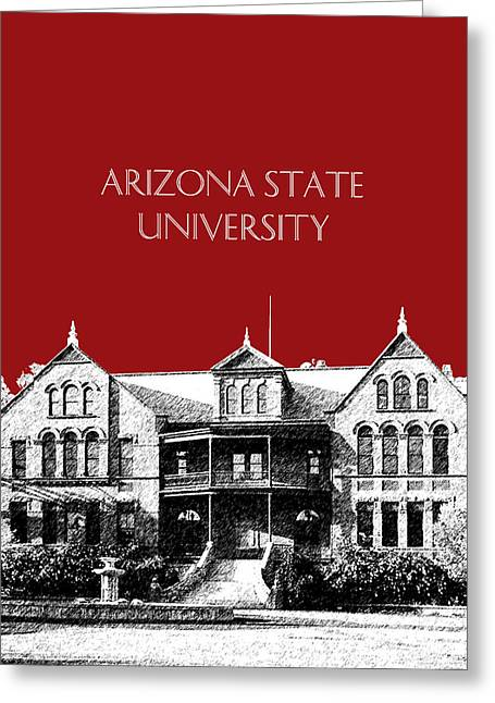 University Of Arizona Greeting Cards - Arizona State University - The Old Main Building - Dark Red Greeting Card by DB Artist