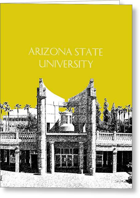 Library Greeting Cards - Arizona State University 2 - Hayden Library - Mustard Yellow Greeting Card by DB Artist