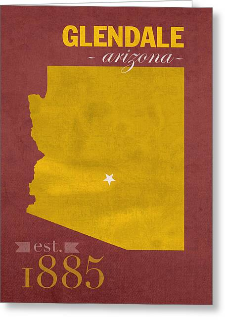 Arizona Posters Greeting Cards - Arizona State University Sun Devils Glendale College Town State Map Poster Series No 012 Greeting Card by Design Turnpike