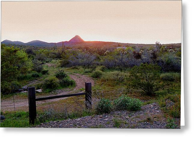 Old Country Roads Greeting Cards - Arizona Sundown Greeting Card by Gordon Beck