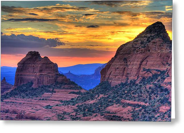 Colorful Cloud Formations Greeting Cards - Arizona Sunset Greeting Card by Alexey Stiop