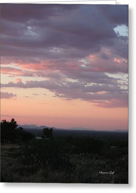 Sunset Posters Greeting Cards - Arizona Sunset II Greeting Card by Suzanne Gaff