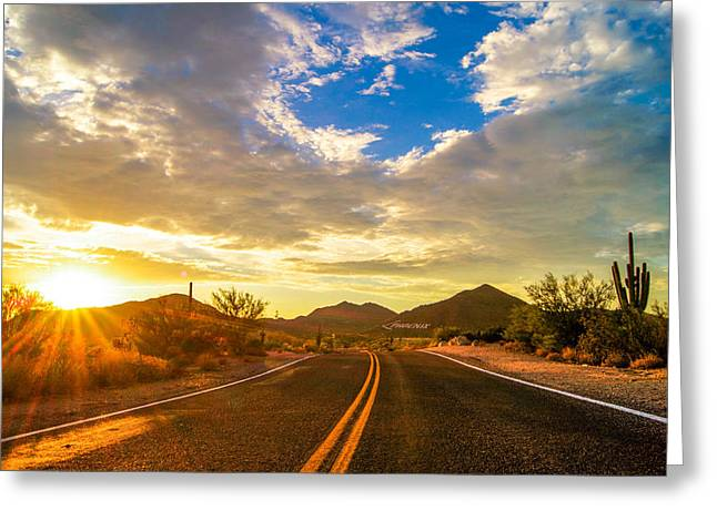 Casey Greeting Cards - Arizona Sunset Road Greeting Card by Casey Stanford