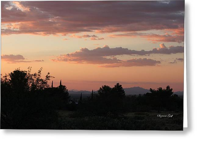 Sunset Posters Greeting Cards - Arizona Sunset Greeting Card by Suzanne Gaff