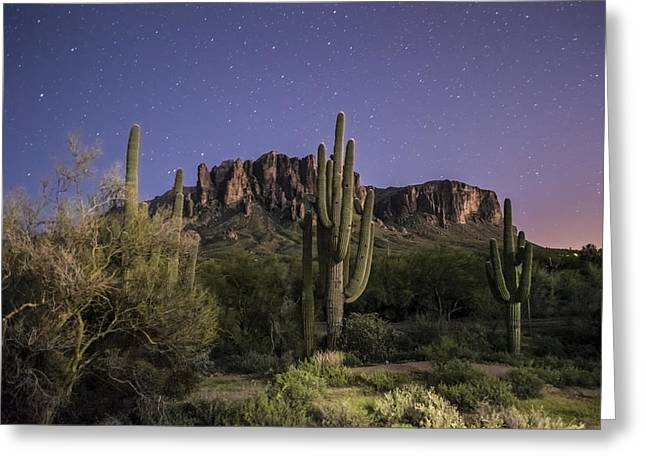 Saguaro Cactus Greeting Cards - Arizona Superstition Mountains Night Greeting Card by Michael J Bauer