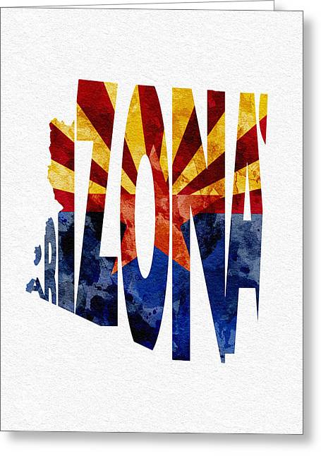 Urban Pyrography Greeting Cards - Arizona Typographic Map Flag Greeting Card by Ayse Deniz