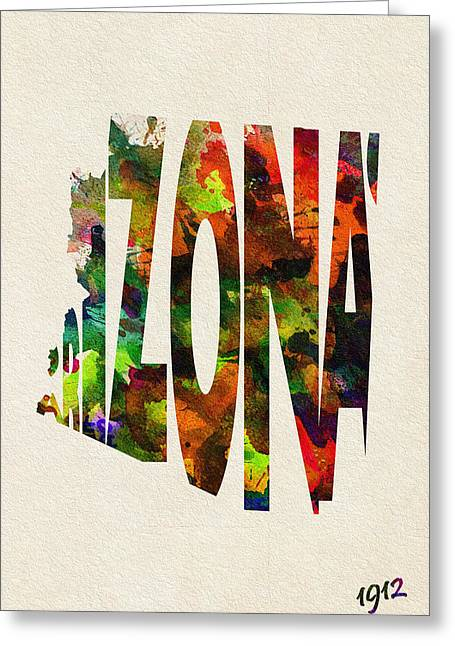 Arizona Posters Greeting Cards - Arizona Typographic Watercolor Map Greeting Card by Ayse Deniz
