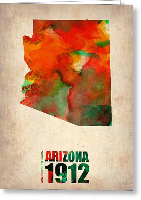 Arizona Greeting Cards - Arizona Watercolor Map Greeting Card by Naxart Studio