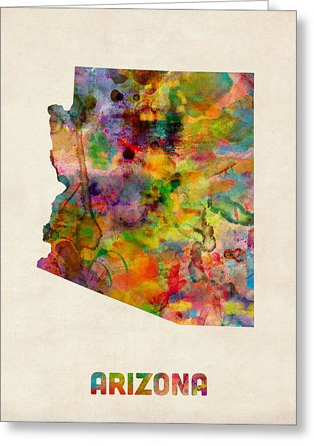 Grand Canyon State Greeting Cards - Arizona Watercolor Map Greeting Card by Michael Tompsett