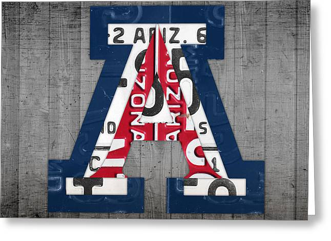 Sport Teams Greeting Cards - Arizona Wildcats College Sports Team Retro Vintage Recycled License Plate Art Greeting Card by Design Turnpike