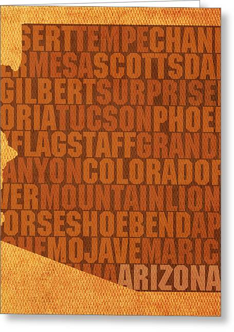 Desert Mixed Media Greeting Cards - Arizona Word Art State Map on Canvas Greeting Card by Design Turnpike
