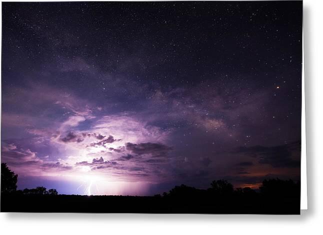 Arizona Lightning Greeting Cards - Arizonas Night Sky Greeting Card by Adam  Schallau