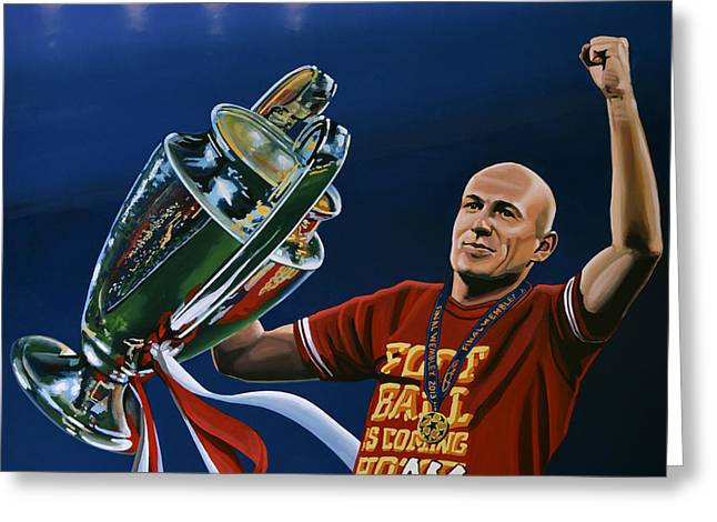 Cup Greeting Cards - Arjen Robben Greeting Card by Paul Meijering
