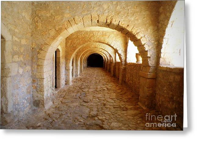 Lainie Wrightson Greeting Cards - Arkadi Monastery Greeting Card by Lainie Wrightson