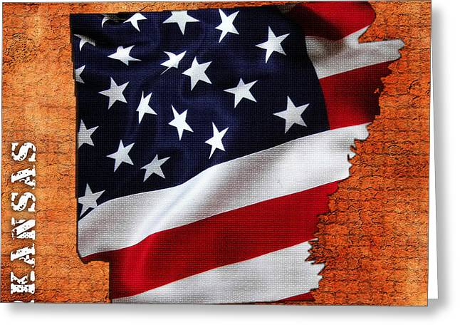 Arkansas Mixed Media Greeting Cards - Arkansas American Flag State Map Greeting Card by Marvin Blaine