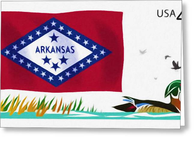 Arkansas Paintings Greeting Cards - Arkansas flag Greeting Card by Lanjee Chee