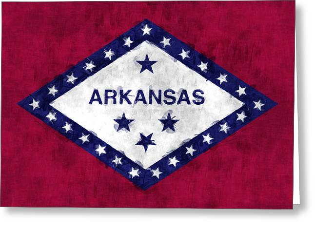 Flag Of Usa Greeting Cards - Arkansas Flag Greeting Card by World Art Prints And Designs